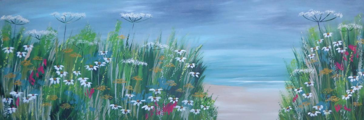 Blooming Beach. Acrylic on canvas. 90cm x 30cm.