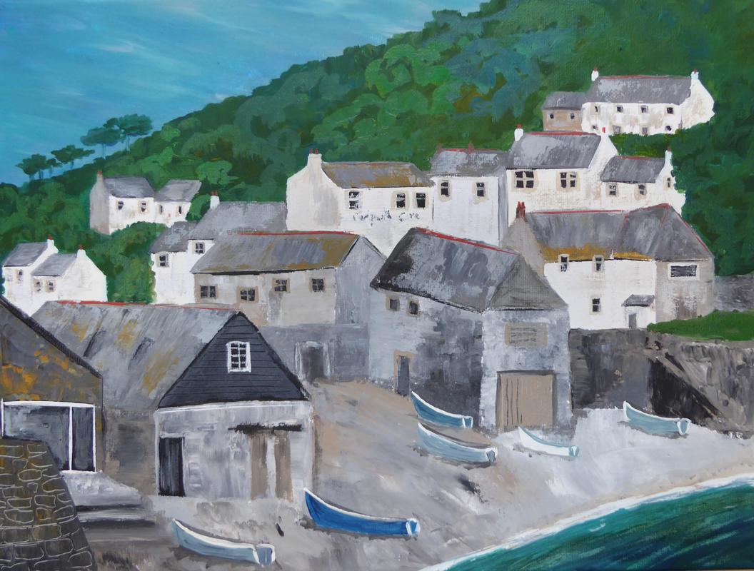Cadgwith Cove. Acrylic and ink on canvas. 40cm x 30cm.
