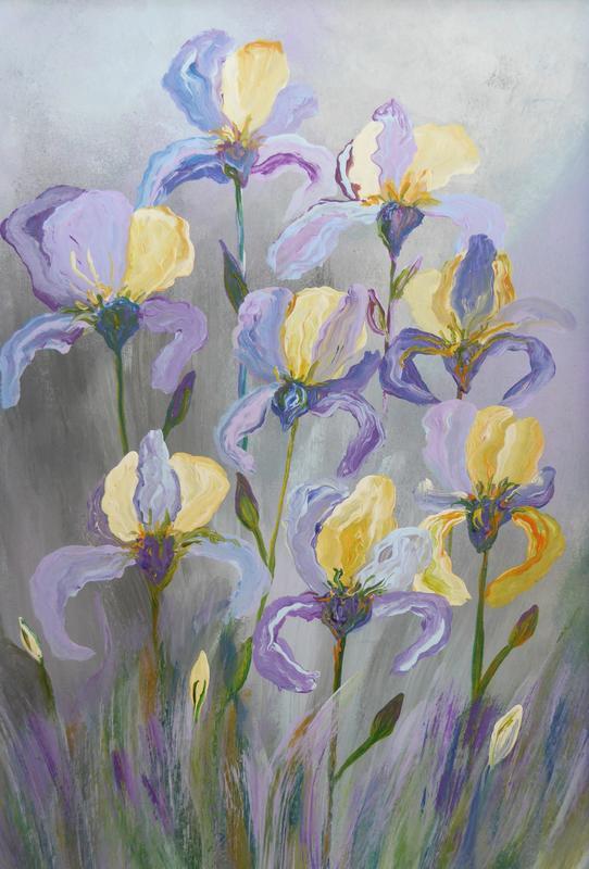 Iris. Acrylic on card. Framed 30cm x 40cm