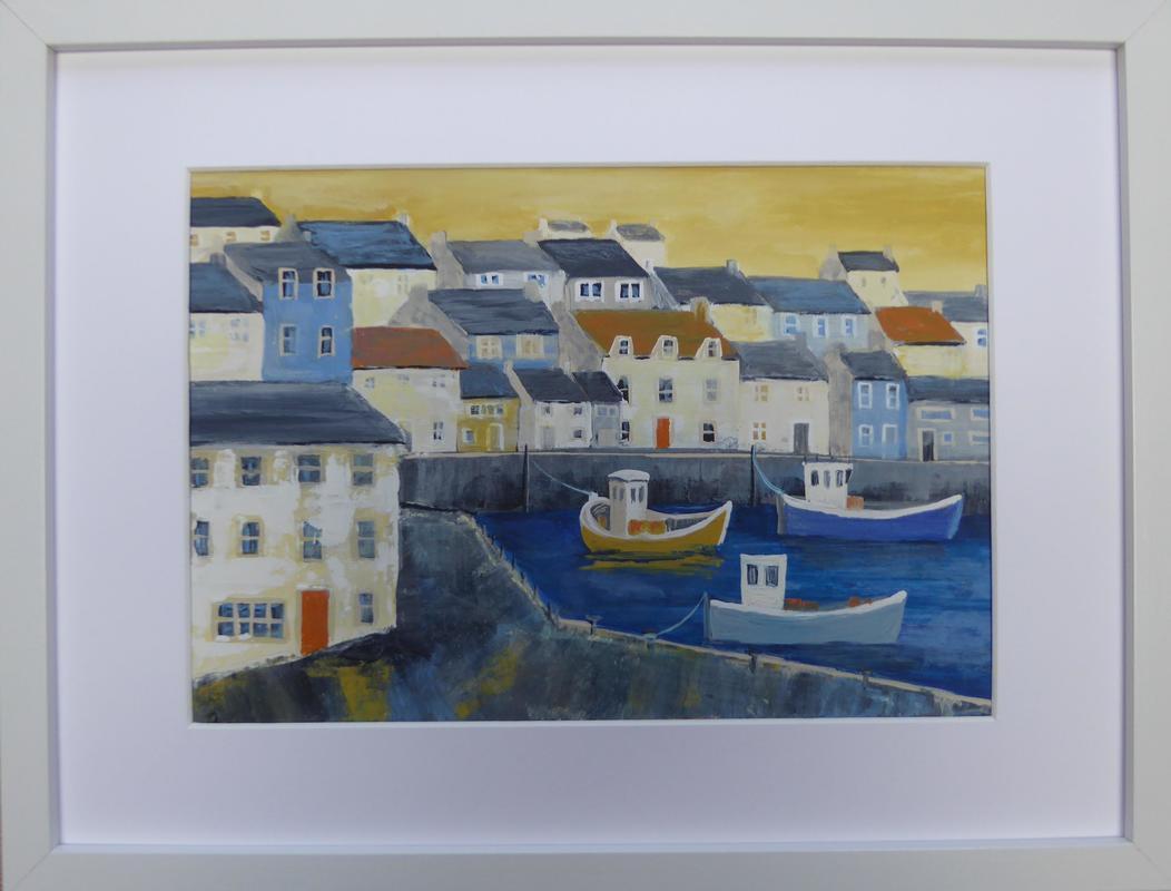 Morning Harbour. Acrylic on canvas. Framed. 40cm x 30cm