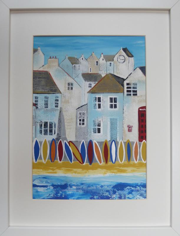 Mousehole Beach. Acrylic on canvas. Framed 32cm x 42cm