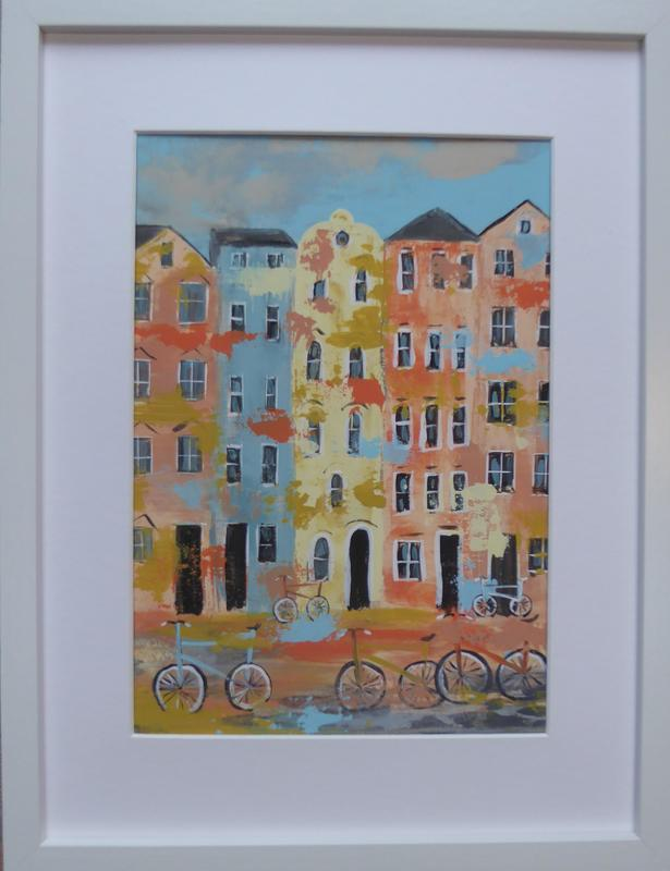 Oxford Bicycles. Acrylic on canvas. Framed. 32cm x 42cm.