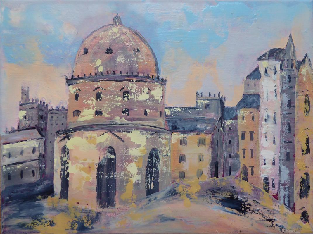 Oxford Morning. Acrylic on canvas. Framed 42cm x 32cm