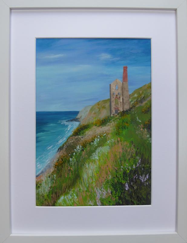 Wheal Coates. Acrylic on canvas. Framed. 32cm x 42cm