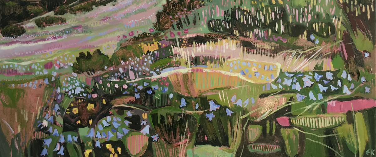 Harebells on Win Hill in the Peaks, oil on canvas, 71 x 31cm