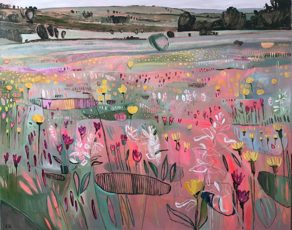 Orchids on the Hill at Cae Blean-Dyffryn, oil on canvas, 127 x 150cm