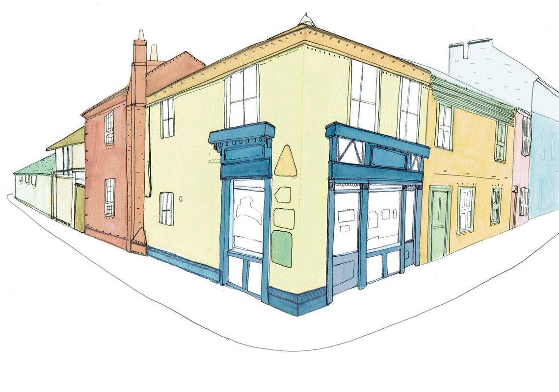 Watlington Chippy, 1 of series 4 perspective images - Digitally enhanced watercolour and ink images. Created for Watlington Artweek, under the Town Hall group theme 'A Sense of Place'