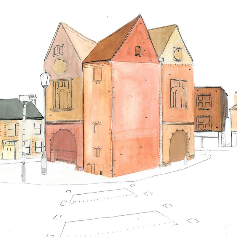 Watlington Town Hall - Digitally edited watercolour and ink. One of a series of images to be shown at Watlington Art week in May 2021