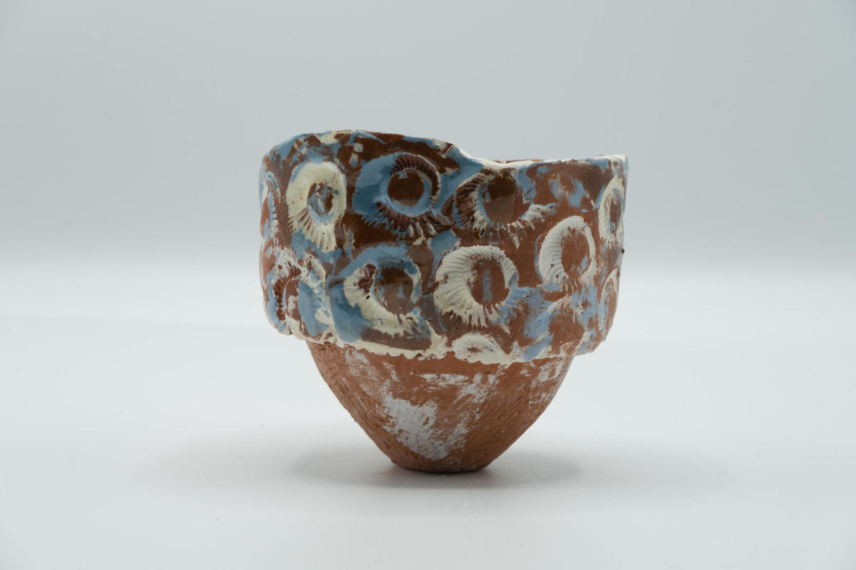 Small textured pot with lustre inspired by archaeological collections in the Ashmolean
