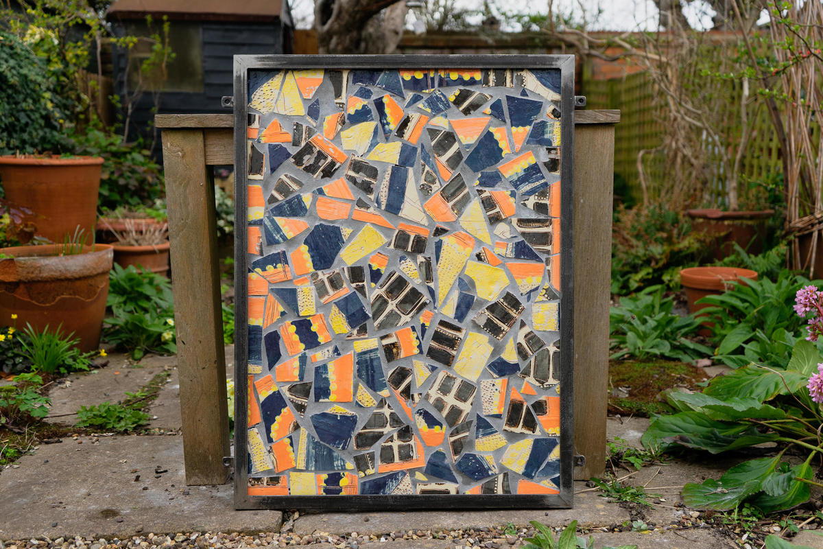 Osney Island: earthenware ceramic panel with hand forged steel frame
