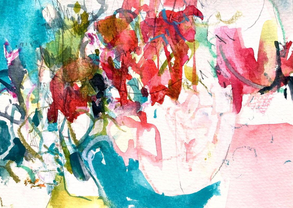 Summer Garden 2, watercolour & mixed media