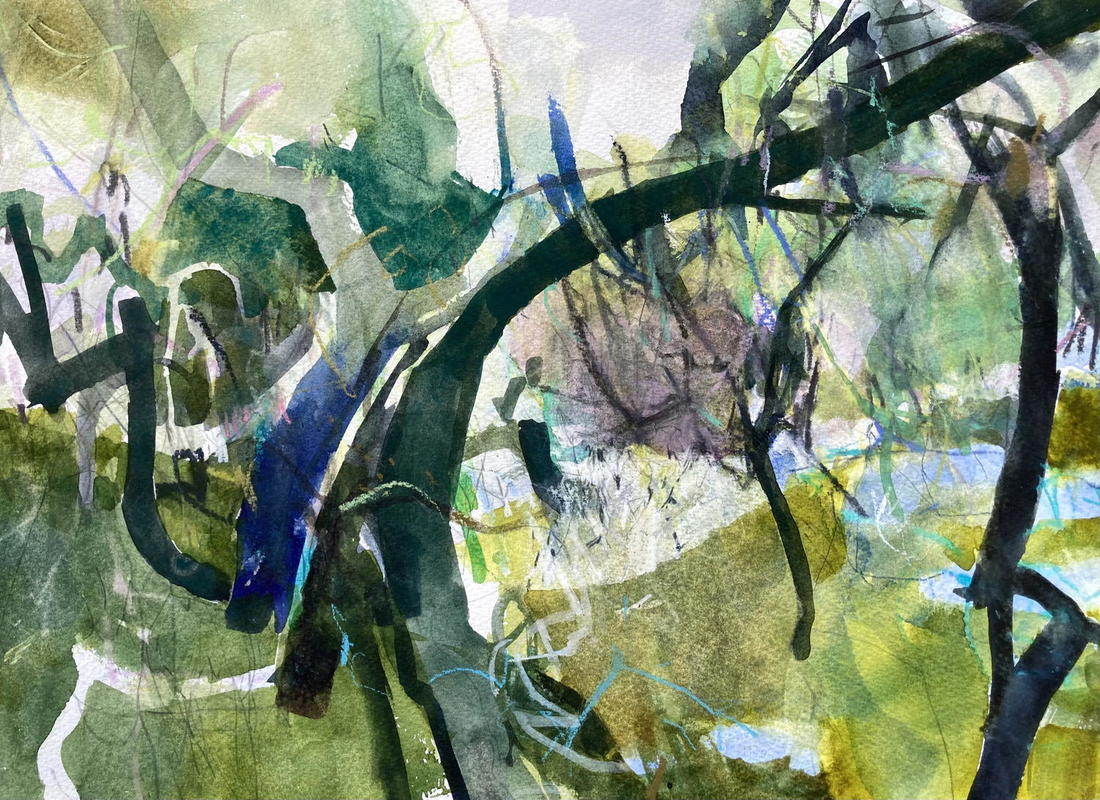 Forest Bathing 4, watercolour & mixed media