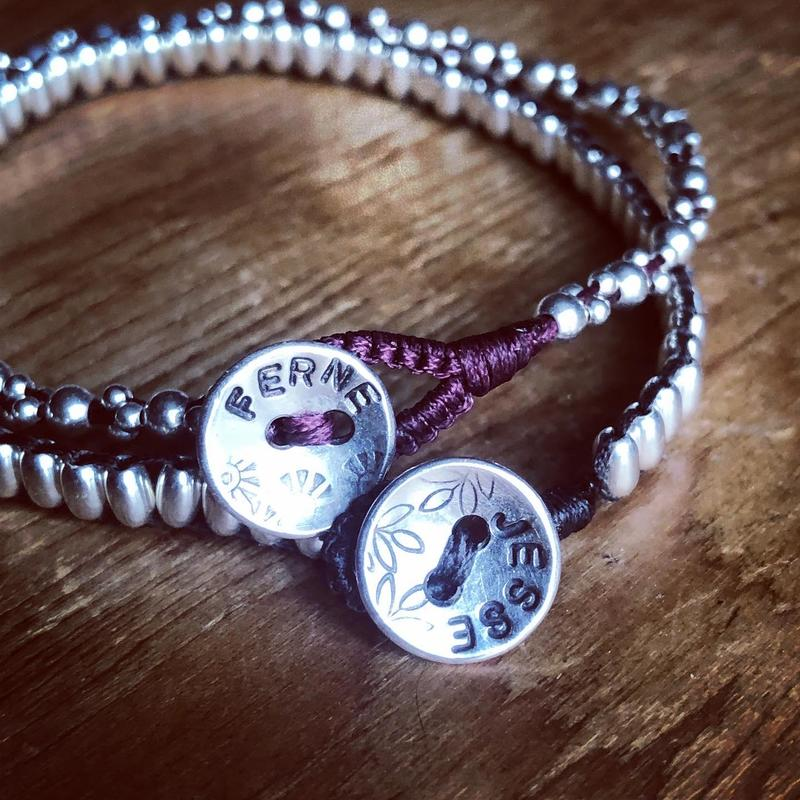 Personalised Silver button bracelets
