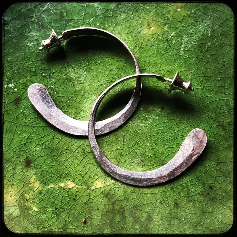 Hand forged silver Hoops