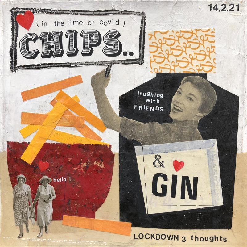 Chips, friends and gin collage. 21 x 21cm £76