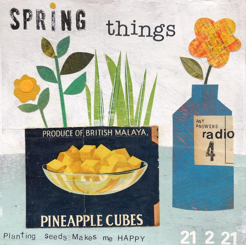 Spring things with pineapple cubes . Original collage 21 x 21 cm £76