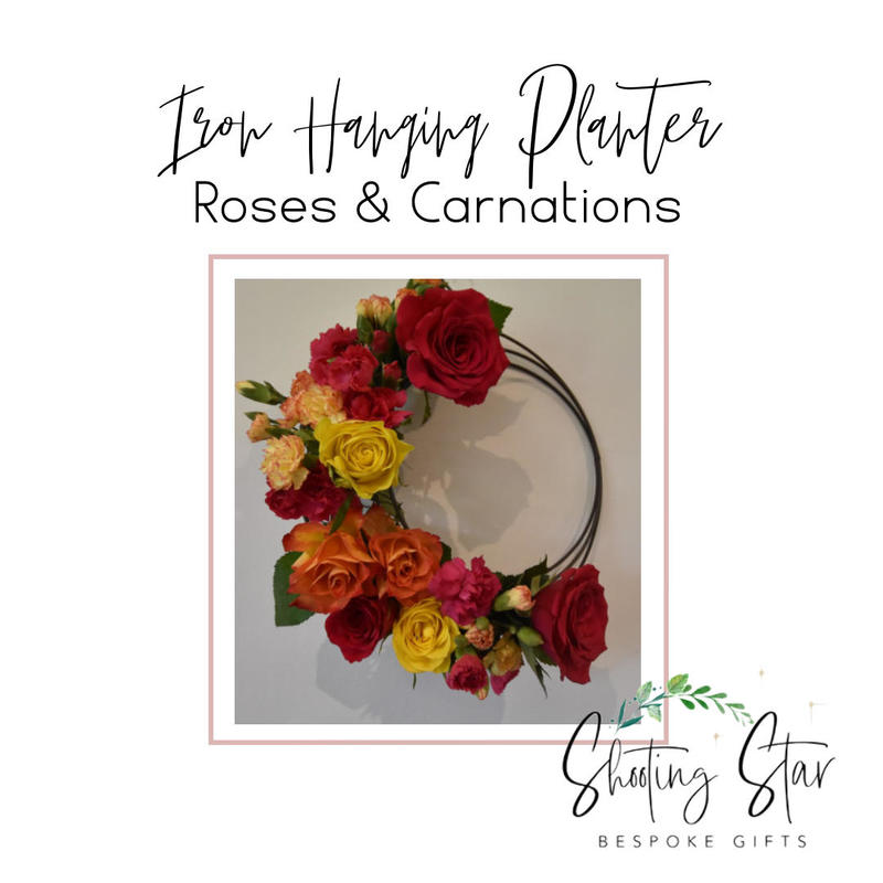 Iron Hanging Planter with Roses & Carnations