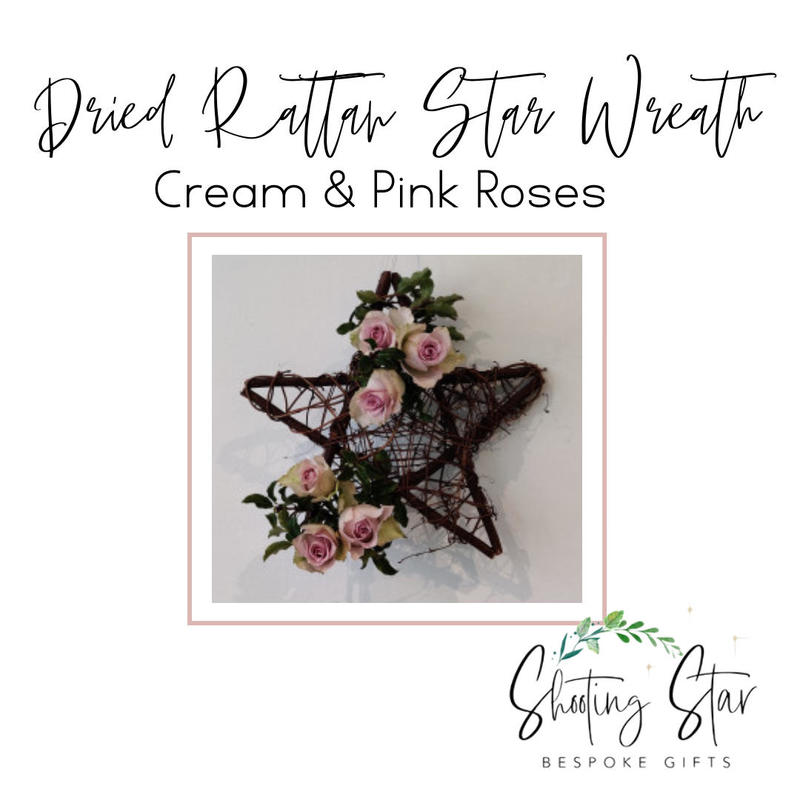 Dried Rattan Star Wreath with Cream & Pink Roses and Foliage