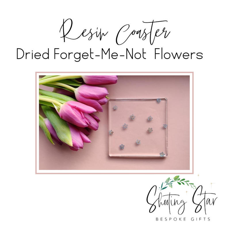 Resin Coaster with Dried Forget-Me-Not Flowers
