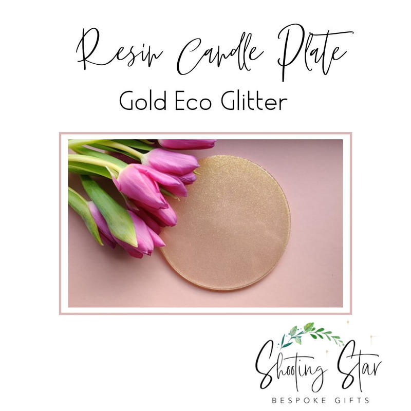 Resin Candle Plate with Gold Eco Glitter
