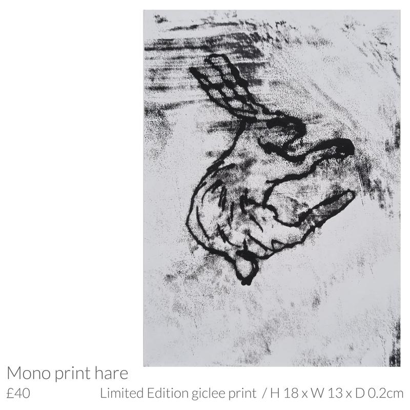 Limited edition print of 'Mono print hare' by Emma Souter