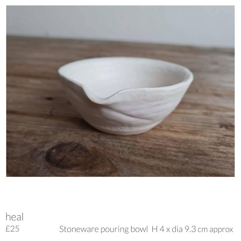 Stoneware pouring bowl 'heal' by Emma Souter