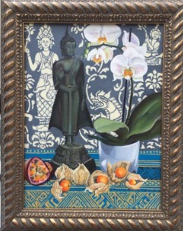 Lao Buddha and Exotic Fruit, oil