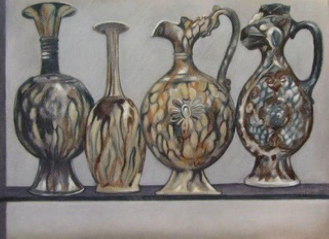 Chinese Tang Tomb Pottery, 7th/8th C, conte & pastel drawing