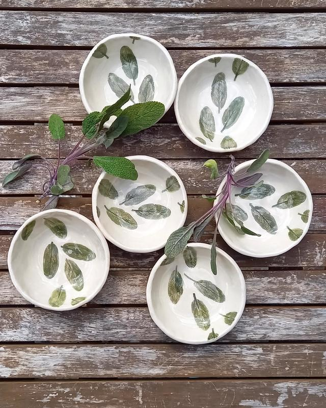 Sage Leaf Bowls. £15 each (2 remaining) Small Bowls with sage leaf pattern, Stoneware