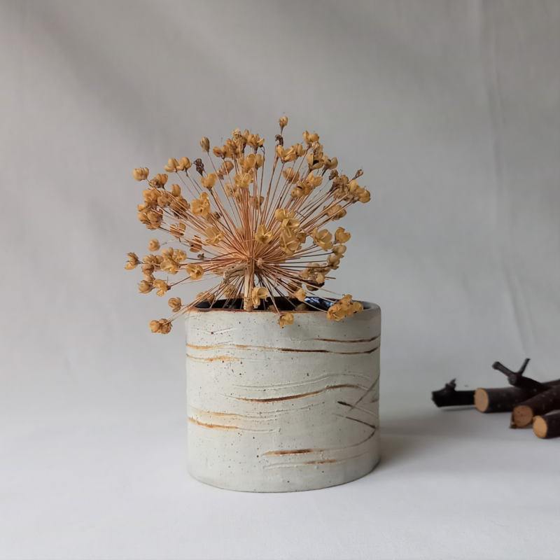Birch Bark Vase. Hand built and glazed in birch bark pattern. Inspired by the trees and by the birch beakers made as vessels in the past and into the present. Stoneware.