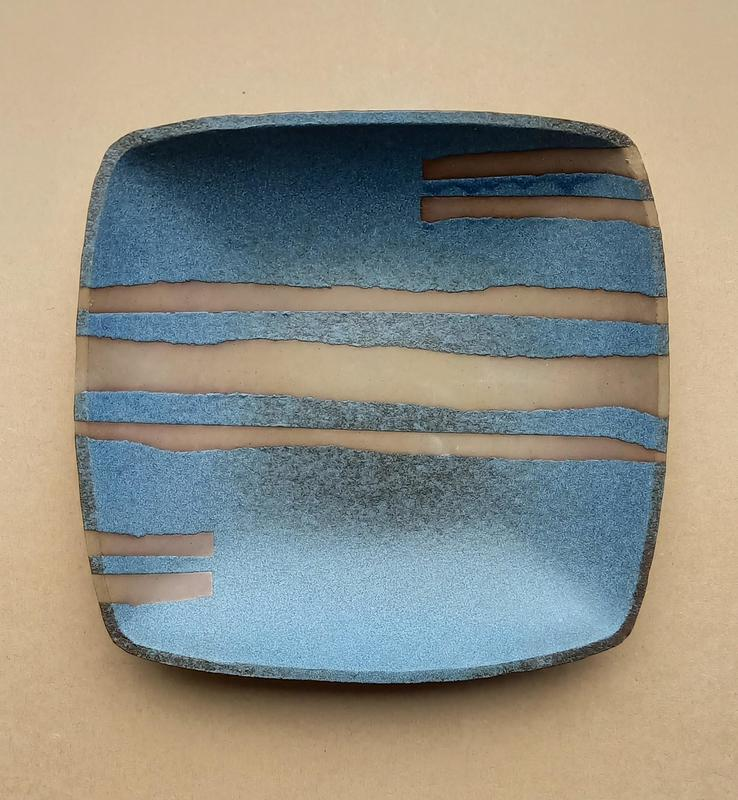 Blue Glaaze Toasted Clay Bowl £150 Approx 24cm. Decorated with blue glaze with a copper speckle, and naked toasted clay showing in unglazed areas.