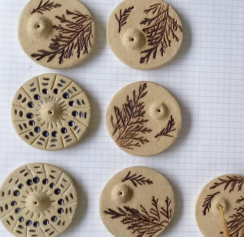 Inscense Holders £15 Cedar Naked clay with decoration impressed and glazed. Cedar Branch or Abstract pattern.