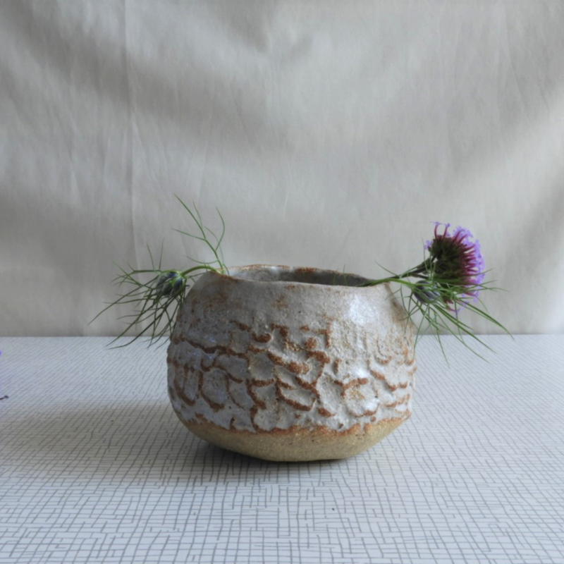 Textured White Pot. Handmade in crank clay, glazed in white inside and out.