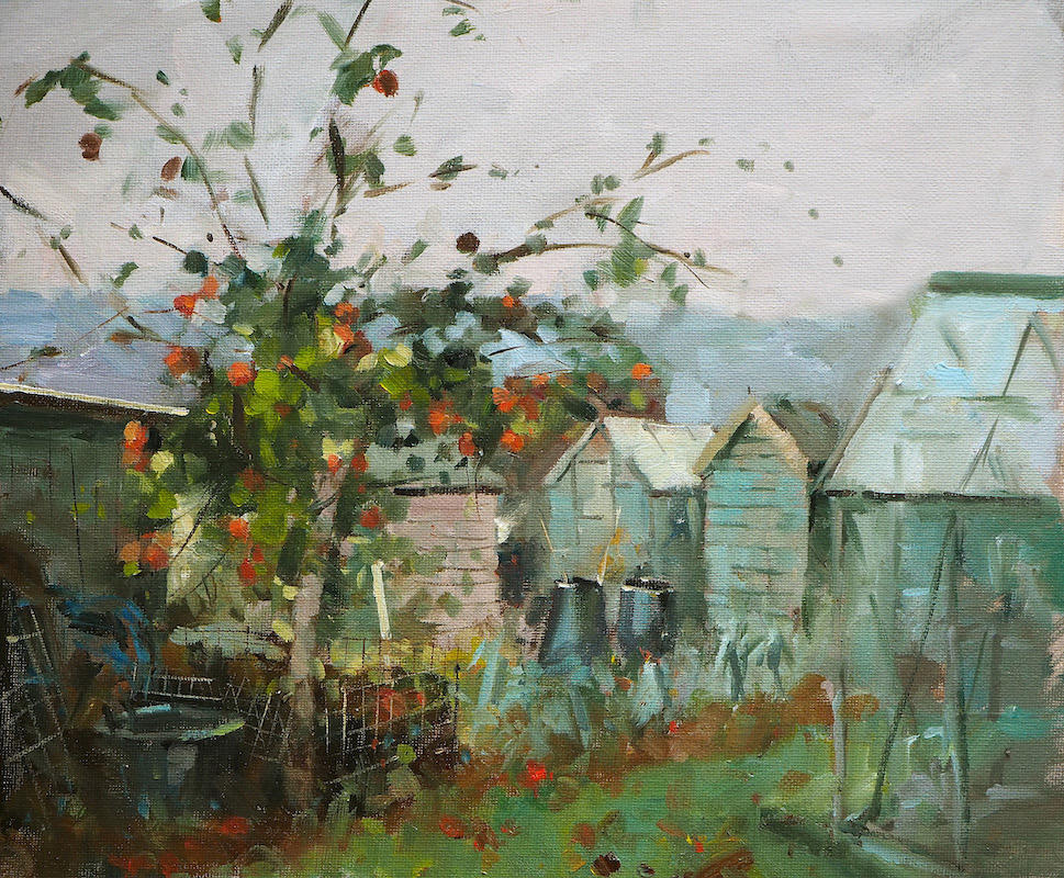Ruby Red;s on the Plot, oil on board