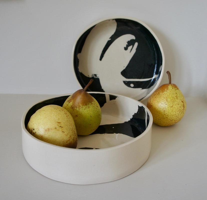 Drum bowls with wax resist and black slip