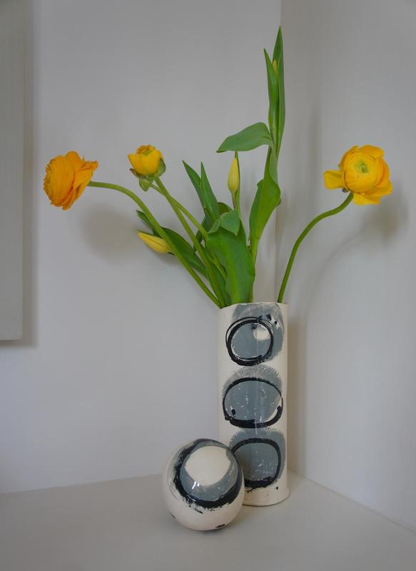 Earthenware vase and decorative ball with grey and black slip