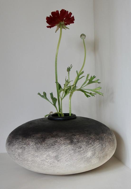 Large Stoneware pot with engobe decoration.