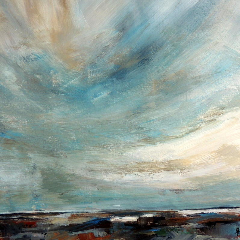 Clouds over Astrop, mixed media, 25x25cms, 40x40cm framed, £75