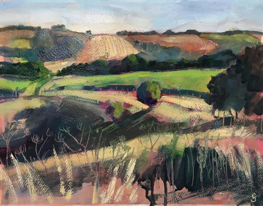 Francesca Shakespeare Wiltshire Downs 28x38cm oil on paper £450