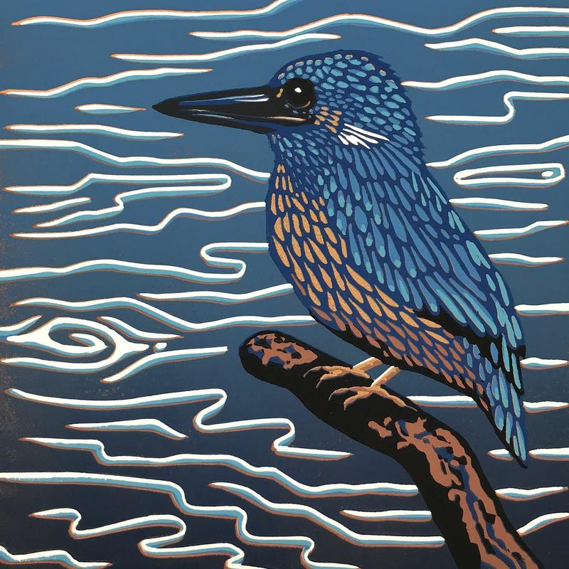 Kingfisher Blues Linocut £35 (unframed)