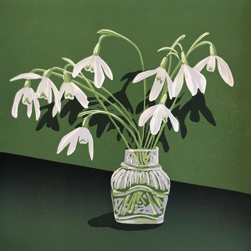 Snowdrops in a glass jar linocut by Gerry Coles NFS