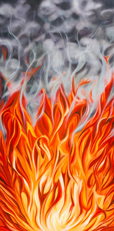 No Smoke Without Fire, oil on canvas, 40x80cms, £220