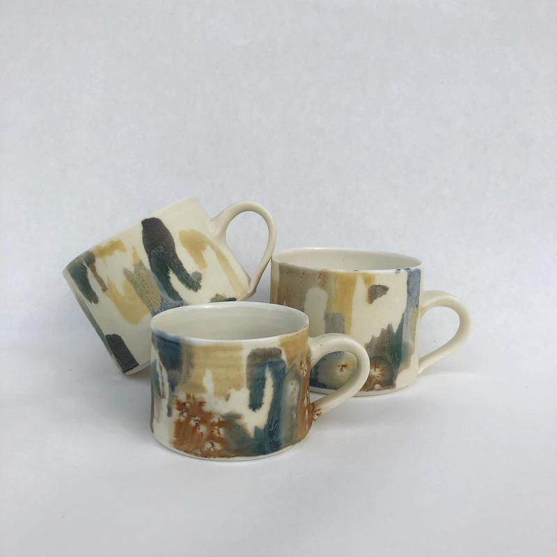 mugs in my 'paintbox' range of tableware