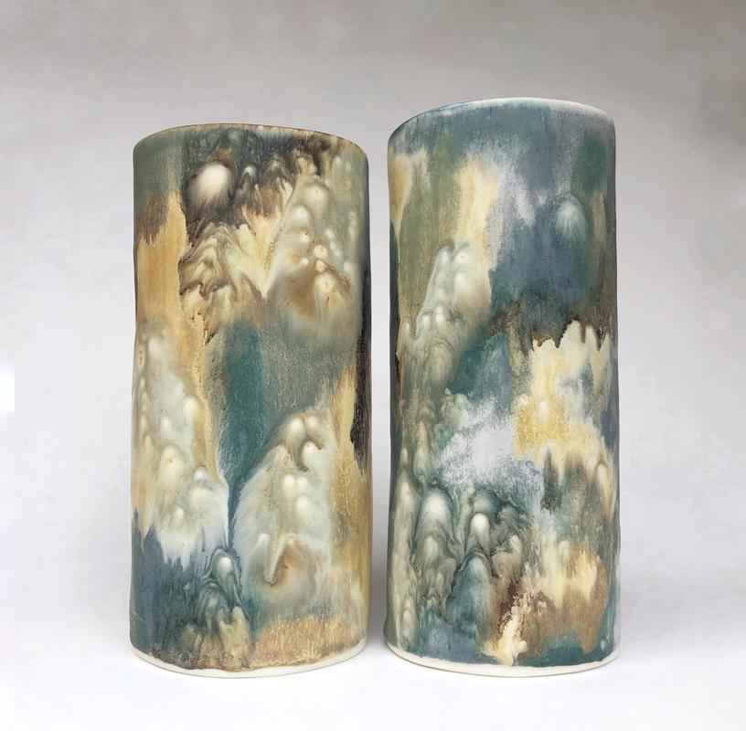 oval vases in porcelain, flowing ash glazes give an abstract effect £70 including postage