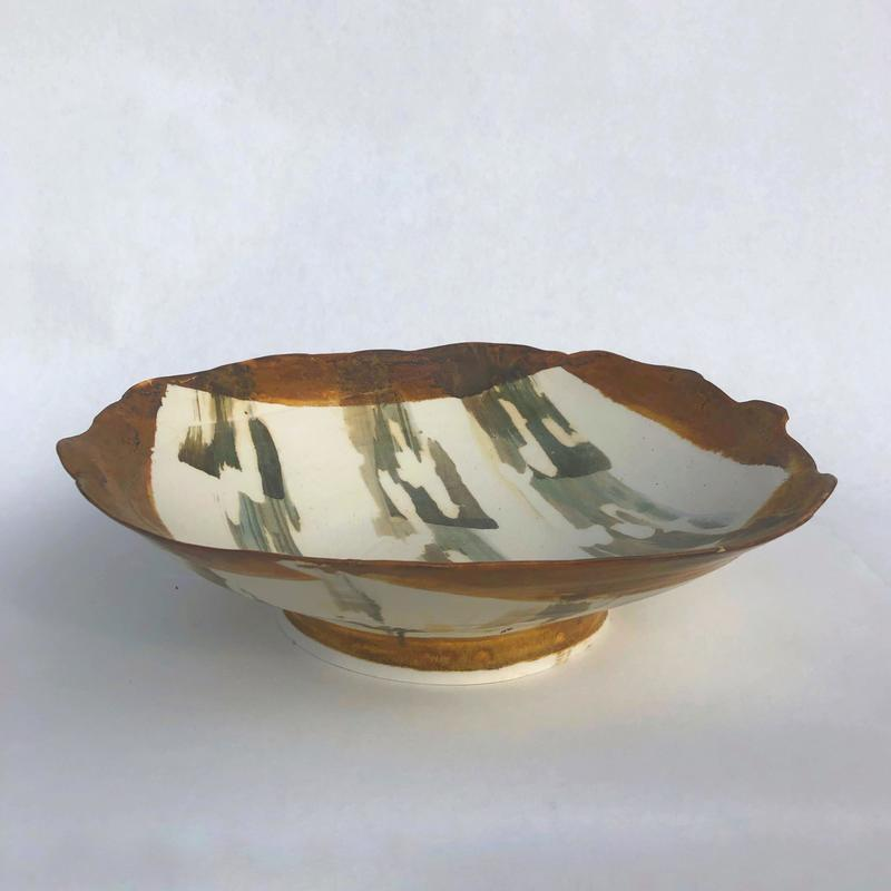large platter with abstract decoration in layered ash glazes