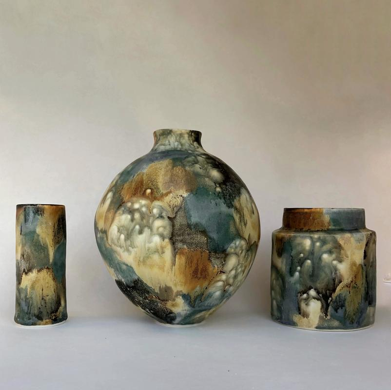vases with layered glazes