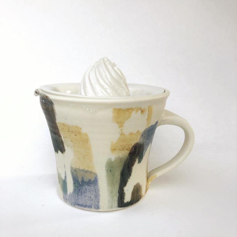 porcelain citrus squeezer in my 'paintbox' range of domestic ware, dishwasher and microwave safe £40 including postage