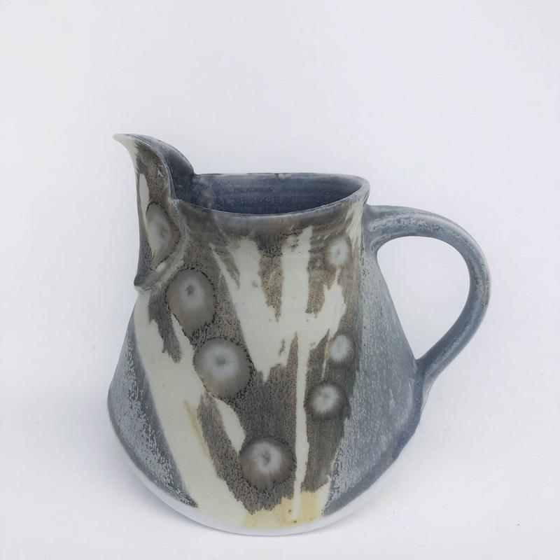 boat jug with abstract design in layered ash glazes