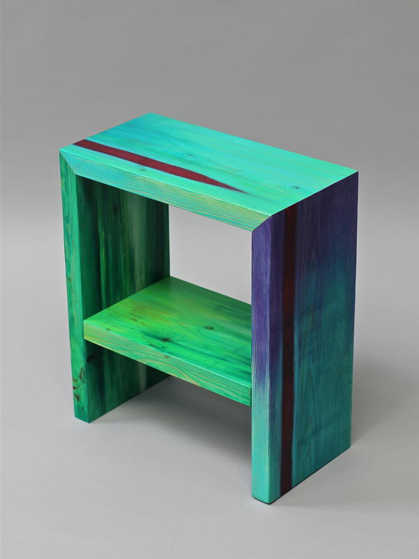 This bedside table is part of the project 'Cut From Canvas' ,  I cut and re-arrange wooden planks that I paint, to make furniture with them