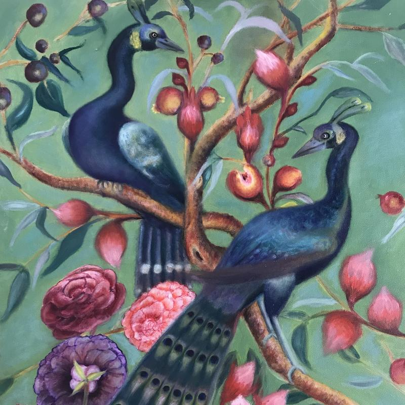 """Perching Peacocks 24"""" x 20"""" Oil on canvas"""